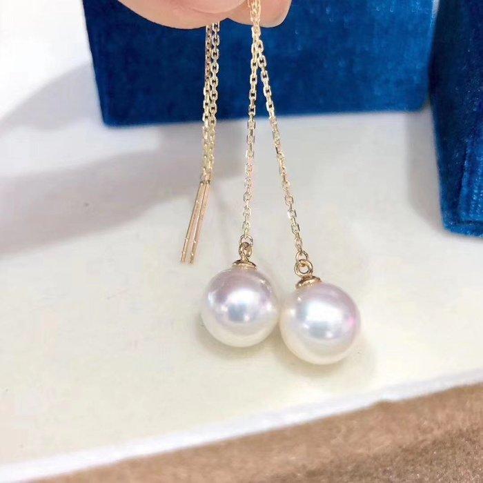 (輕舞飛揚)18k金鑲嵌天然秋屋海水珍珠耳線,珠光寶氣,珍珠正圓強光無暇,超級精緻直徑7-8mm