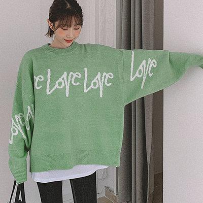 i-Mini 正韓|LOVE英文字母落肩針織上衣|4色‧ 韓國連線‧代購‧空運【11122395LY】