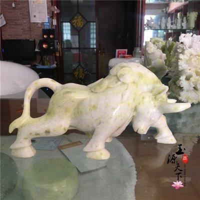 風水玉雕天然岫玉石牛擺件生肖招財牛客廳辦公室工藝品送禮擺件