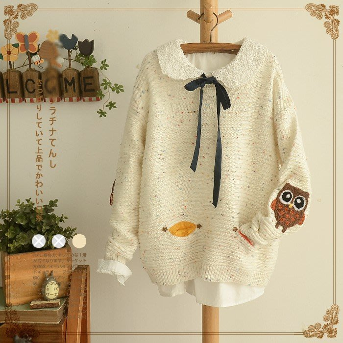 【15889】毛衣  日系森女系貓頭鷹貼布毛衣☆*藍荳荳小舖*☆(預購)