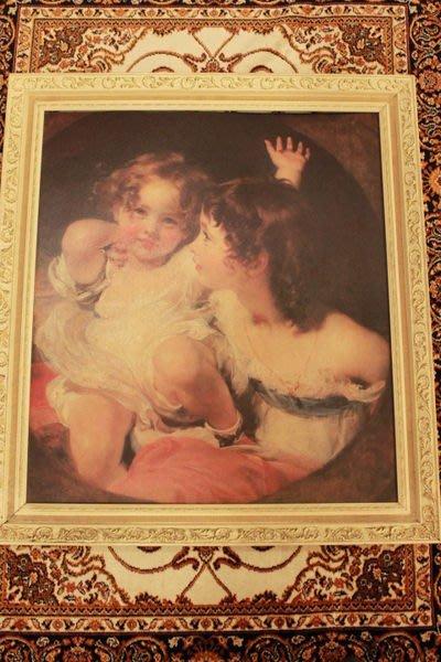 【家與收藏】賠售特價歐洲古董浪漫優雅法國洛可可Rococo古典名畫可愛小女孩畫像/大幅掛畫擺飾