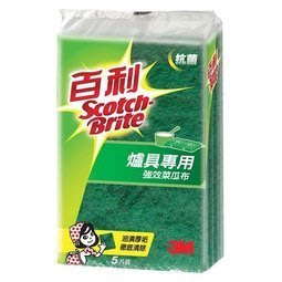 3M百利抗菌升級爐具專用菜瓜布小綠5片入96S-5M 3M生活小舖