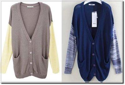 【WildLady】 特 日本休閒拼色長版針織外套moussy