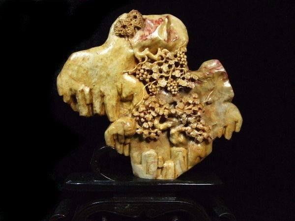 *藏雅軒*早期收藏-天然原礦-昌化雞血石雕刻擺件-雪岩松濤