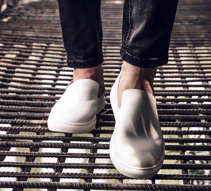 日暮瓦宅 SA80 極簡百搭休閒素色真皮男鞋帆船鞋懶人鞋