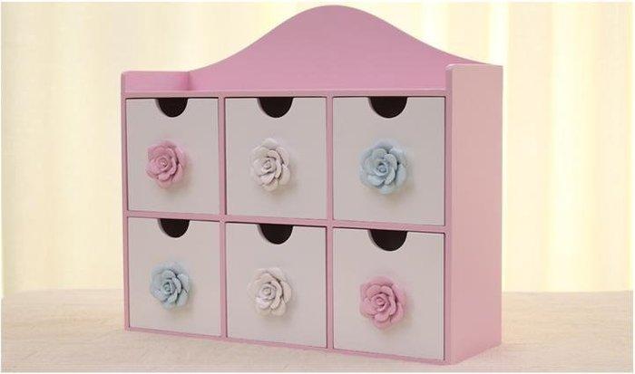 粉紅玫瑰精品屋~玫瑰桌面整理盒 韓國時尚首飾收納盒~