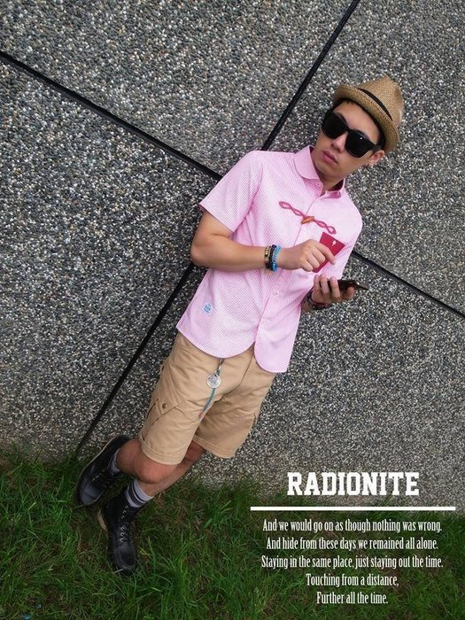 美國東村【RADIONITE】Horn shirt 牛角釦襯衫 粉紅條紋 海軍風