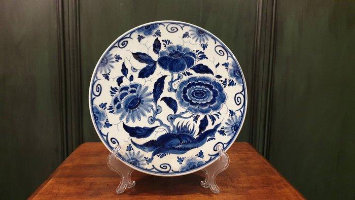 【卡卡頌 歐洲古董】 DELFTS  荷蘭老件 全手繪 簽名  青花瓷  瓷盤  裝飾盤  大掛盤p1725
