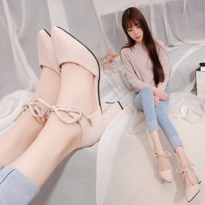 現貨/涼鞋女中空包頭高跟鞋女生中跟尖頭單鞋粗跟時尚女鞋/海淘吧F56LO 促銷價