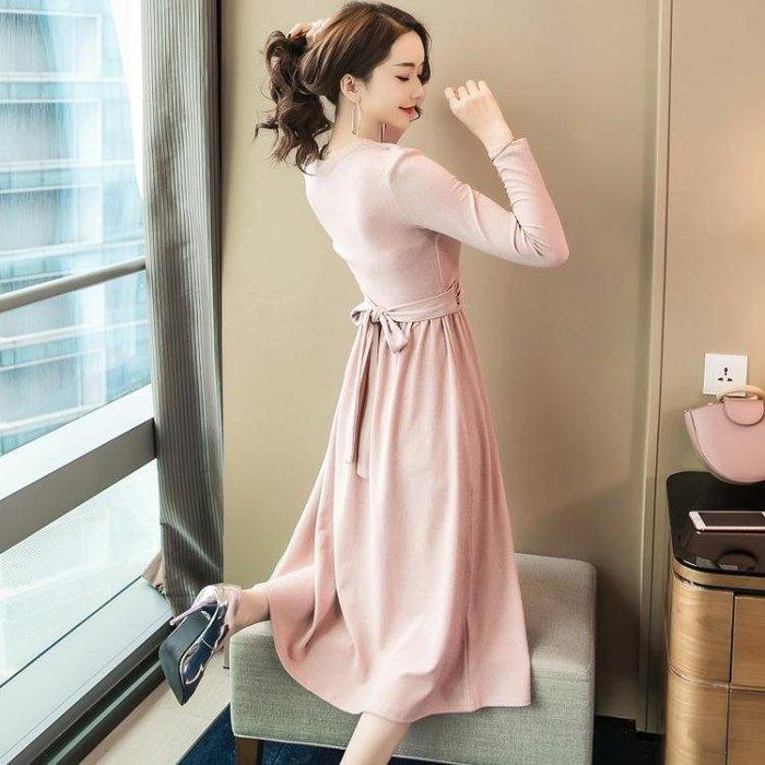 長袖洋裝0897#氣質名媛秋季假兩件長裙修身高腰亮線裙子長袖連身裙女GT2F-233-A