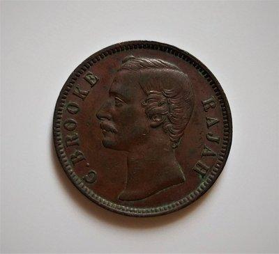 極稀少 美品 1870 年 SARAWAK 砂拉越 馬來西亞 馬來亞 1分 1 Cent 大型 古 銅 錢幣