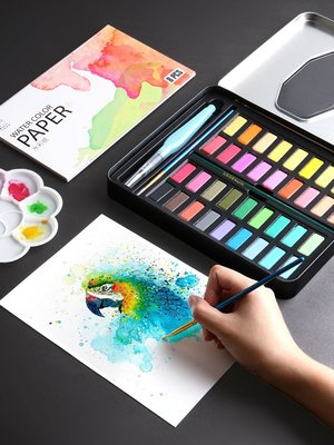 299起售*水彩顏料套裝固體水彩畫工具36色繪畫初學者水粉顏料入門全套兒童便攜學生粉餅畫畫用品手繪彩繪#繪畫用品#文具#