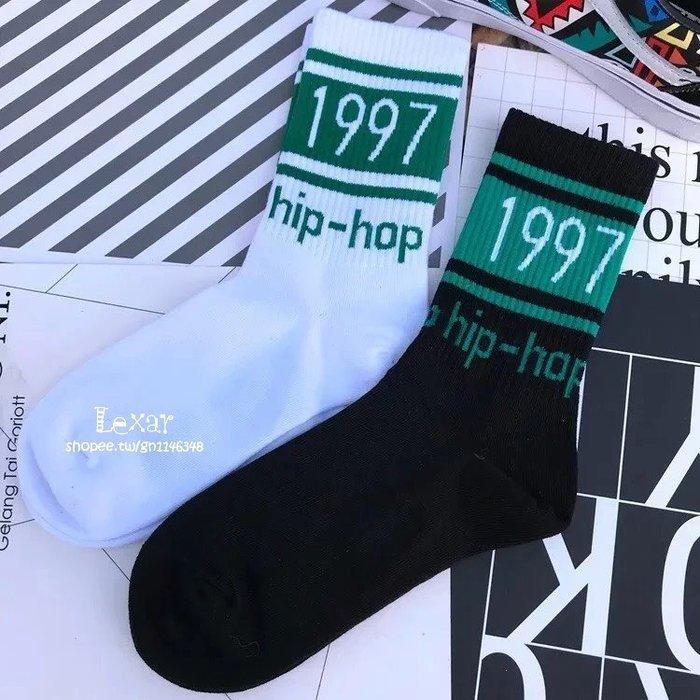 1997 hip-hop襪子 韓版 原宿 潮牌hiphop 男女中長筒襪子街頭嘻哈情侶滑板襪子