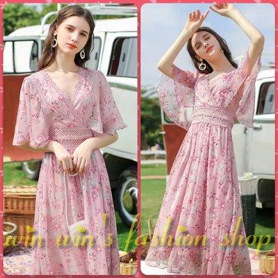 韓系仙女荷葉袖粉紅鏤空蕾絲碎花雪紡長洋裝