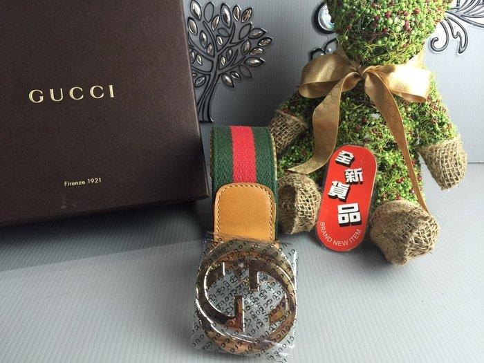 《真愛名牌精品》GUCCI  114876 綠紅綠緹花布 GG頭 皮帶 95cm (14403)*全新品*