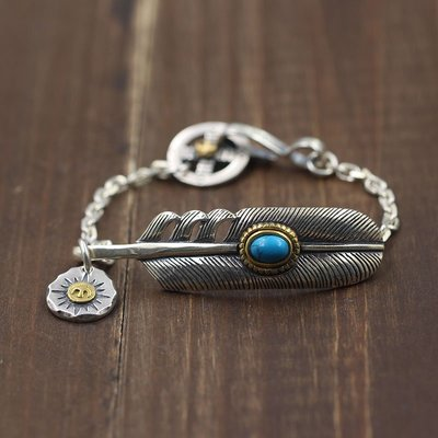 精緻life 泰銀鑲嵌藍松石羽毛太角鏈 飛鳥個性手鏈 s925純銀飾品打造
