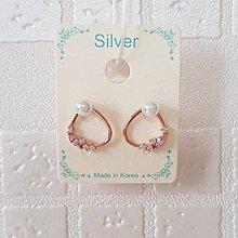 【閃亮芝蘭】 0128 耳環 正韓 飾品 針式 銀針 (玫瑰金)