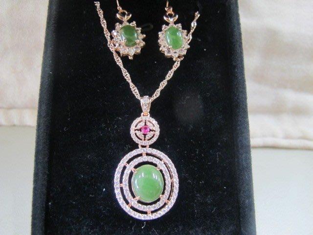 二手舖 NO.738(天然翡翠A貨) 純銀925 玫瑰金 滿綠 鑲鑽 紅寶石 翡翠項鍊+耳環 飾品 原價打75折