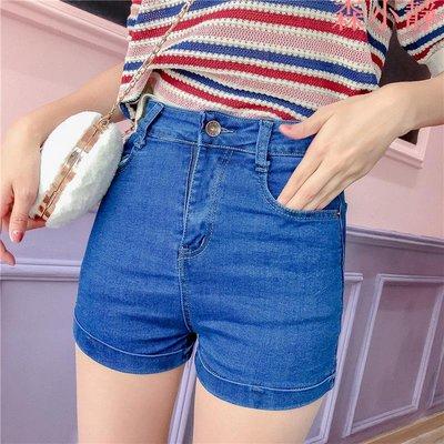 【森小靜】女夏韓版緊身彈力性感熱褲包臀直筒顯瘦藍色高腰牛仔褲超短褲子