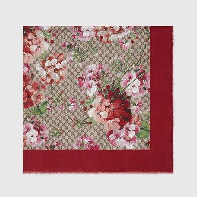 歐洲 法國 德國 維也納代購 Gucci GG  silk Blooms print shawl 絲綢披肩