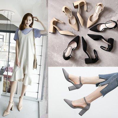 小清新高跟鞋女夏尖頭粗跟一字扣帶中空單鞋女中跟春韓版女鞋涼鞋