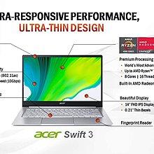 宏碁Acer Swift3 14吋FHD Ryzen7 4700U 8核心4.1GHz 8GB 512GB筆記型電腦筆電