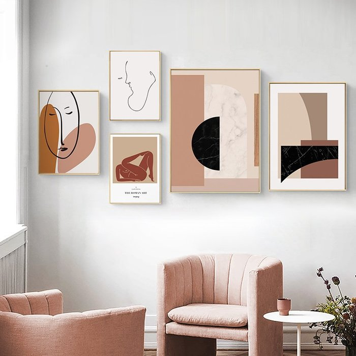 文藝復古莫蘭蒂色系粉色幾何抽像人物ins奢華裝飾畫