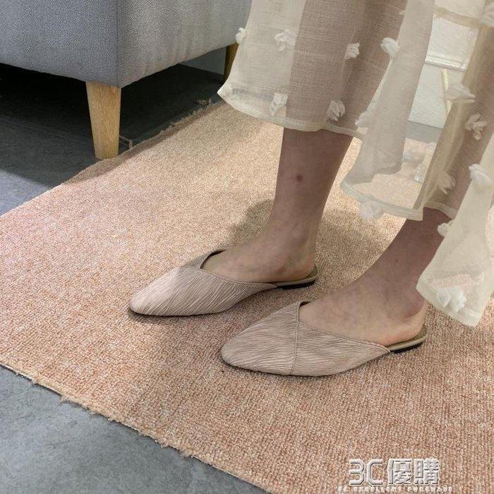 【瘋狂夏折扣】半拖鞋 春季新版韓版尖頭淺口簡約包頭半拖外穿時尚百搭平底鞋女鞋