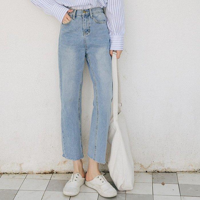 SEYES  韓系女孩必備自然休閒淺色牛仔九分褲