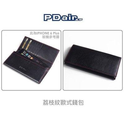 --庫米--PDair IPHONE 6 Plus / Note 4 /820 荔枝紋歐式錢包 黑色車紅線 5.5吋