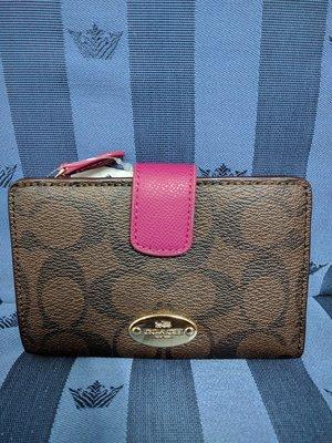 『BAN'S SHOP』COACH 53562 / F53562  C LOGO PVC 拉鏈 中夾 皮夾 全新真品