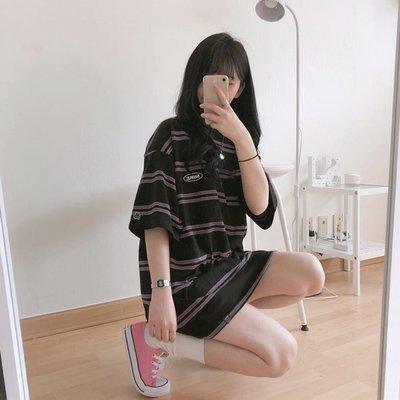T恤 上衣 朗姆巧克力 少女感 拼色條紋T恤連衣裙 韓國復古學院寬松短袖TEE