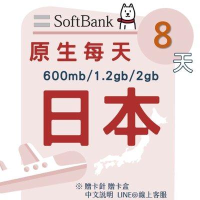 【插卡即用】日本Softbank原生網卡8天4.8GB    SOFTBANK原生網路卡/每日600MB