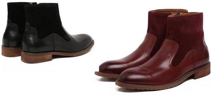 秋冬新品英倫商務皮靴 頭等牛皮拼接 拉鍊 尖頭 男靴低筒靴