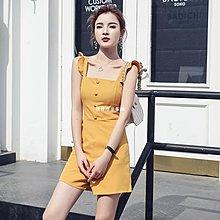 發發潮流服飾夏季女裝氣質顯瘦高腰連身褲荷葉邊吊帶露背連身褲背帶闊腿短褲子