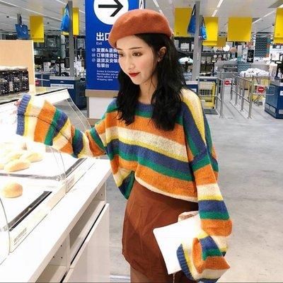 秋季女裝寬鬆薄款慵懶風彩色條紋針織衫長袖
