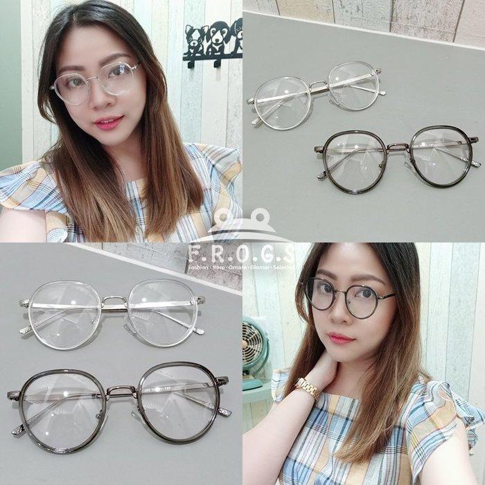 F.R.O.G.S E2030日韓學院風書卷氣圓框可佩度數造型眼鏡素顏眼鏡男女同款平光眼鏡裝飾眼鏡無度數(現+預)