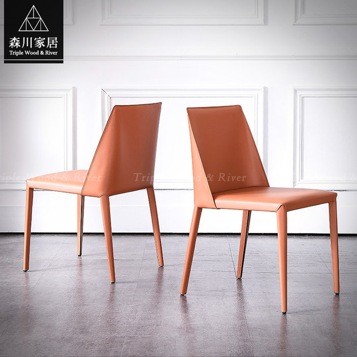 《森川家居》PRC-50RC05-現代設計皮革馬鞍餐椅 休閒椅餐廳飯店民宿/北歐輕奢設計師/美式LOFT品東西IKEA