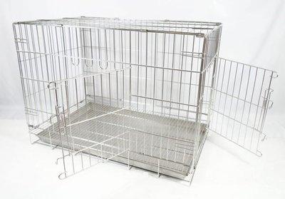 【優比寵物】3尺不鏽鋼/不銹鋼(304#級)((雙門=正門+側門)活動折疊式/摺疊式)白鐵兔籠/狗籠/貓籠/寵物籠