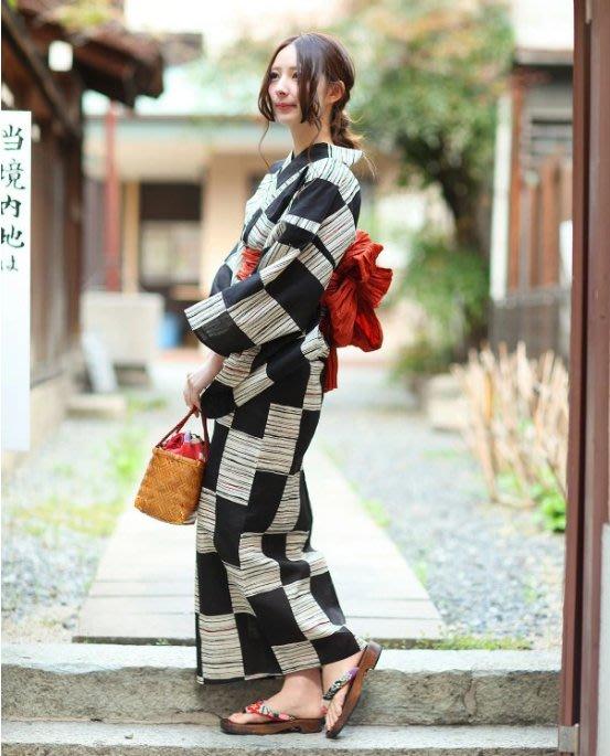 01日本和服浴衣棉麻 古典花色 黑白格