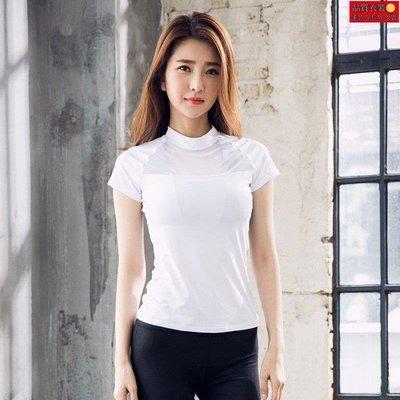 直購-新款戶外運動速干瑜伽T恤女上衣跑步修身健身服短袖女