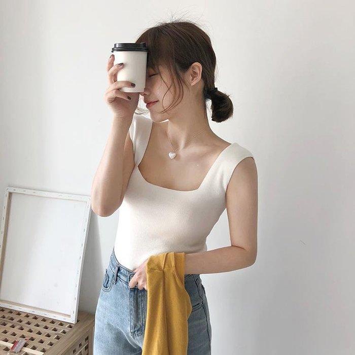 韓版修身顯瘦彈力緊身短款針織吊帶背心女學生百搭外穿打底衫上衣