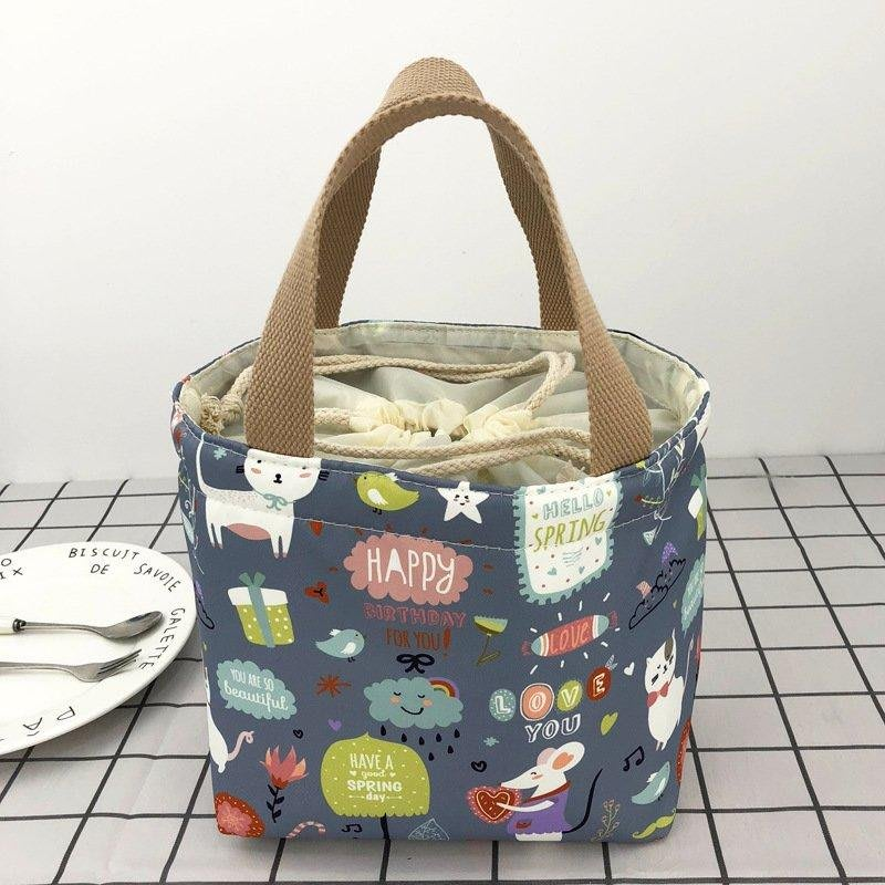 8色卡通印花防水保溫便當袋束口保溫袋手提袋餐具袋野餐袋保冷袋小提袋購物袋買菜包