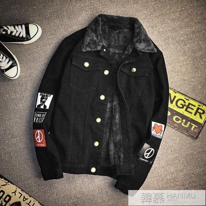 冬季加絨加厚牛仔夾克男士加肥加大碼韓版修身潮外套青年胖子學生