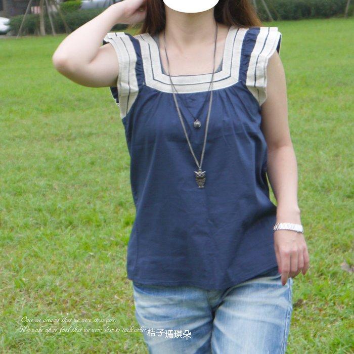 正韓 韓國連線 棉混麻衫 方領滾麻邊(靛藍、白色)~桔子瑪琪朵。惠衣