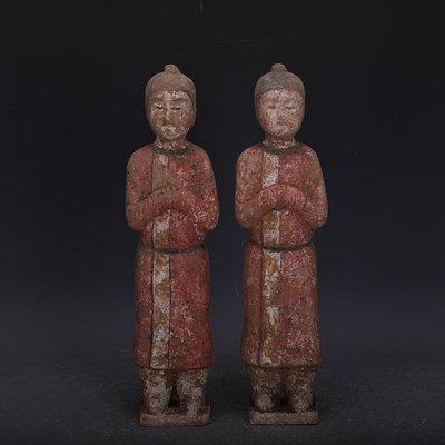 【三顧茅廬】唐代手工彩陶雕塑人俑一對 出土文物古瓷器古玩古董收藏擺件
