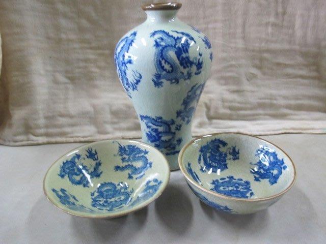 二手舖 NO.2286 古早收藏 老件 陶瓷花瓶 瓷碗 青花上釉 擺飾