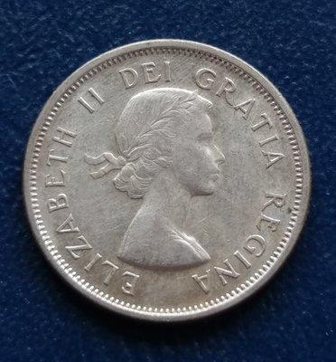 加拿大 CANADA 1958 伊莉沙白二世  25分  銀幣(80%)   280-386