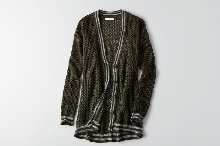 Maple麋鹿小舖 American Eagle * AE 深綠色針織長版外套 * ( 現貨S/M號 )
