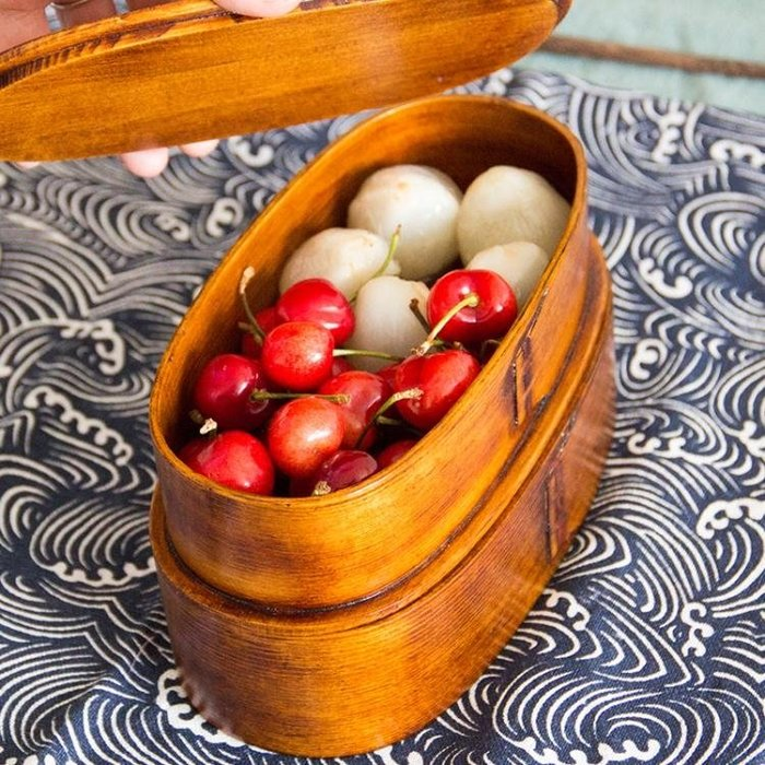 雙層便當盒 日式 木質白領便攜午餐盒壽司盒乾果盒野餐盒復古 【潮玩街】